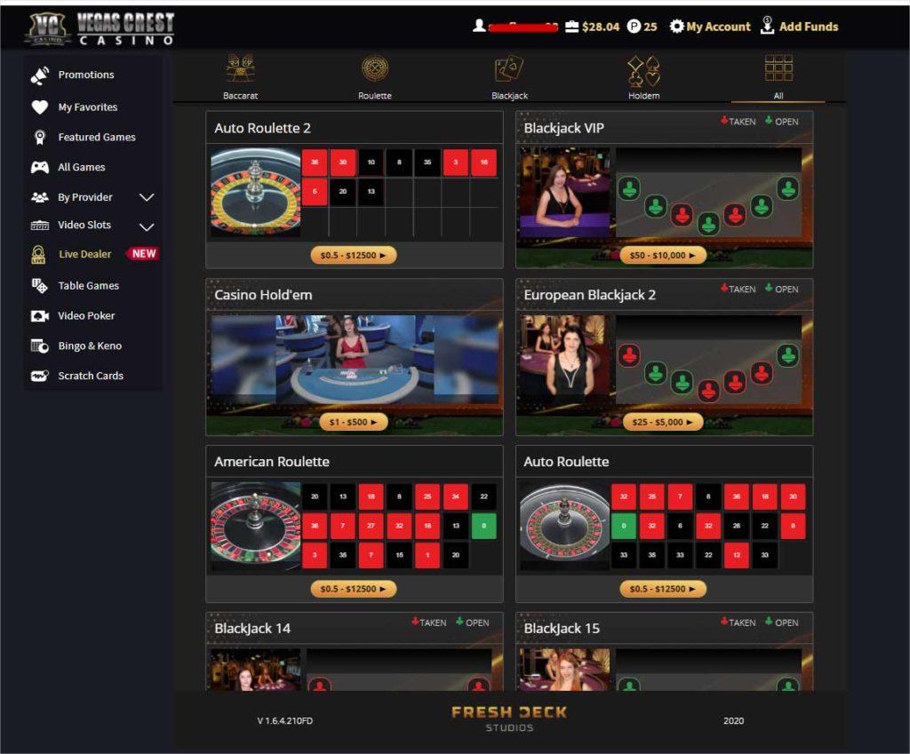 vegas crest live casino games